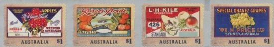 AUS SG4586a Nostalgic Fruit Labels self-adhesive strip of 4 from roll
